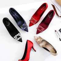 Wild Pink Newest leather summer women's shoes luxury thin high heels extreme high heels summer women's shoes fashion comfortable