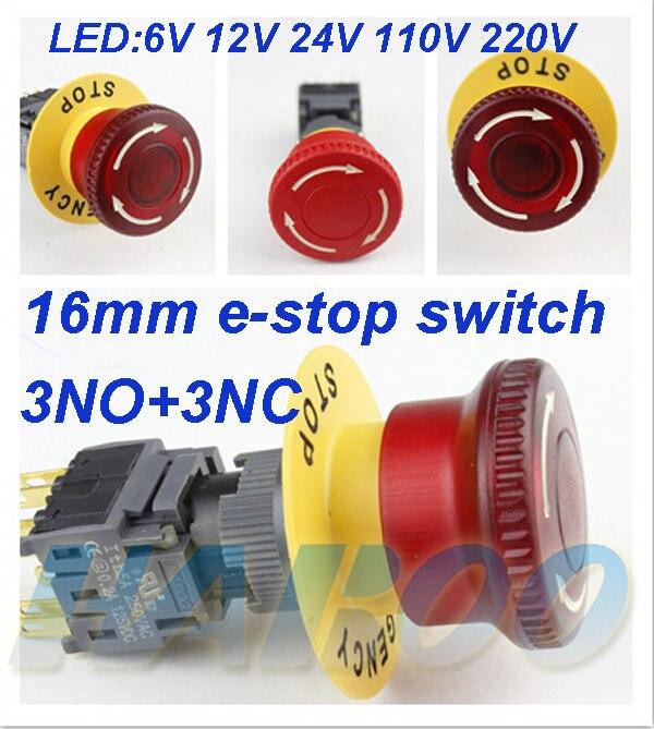1 шт. Бесплатная доставка dia.16mm свет аварийный выключатель 3NO + 3NC светодиодное освещение переключатель 6 В 12 В 24 В 110 В 220 В