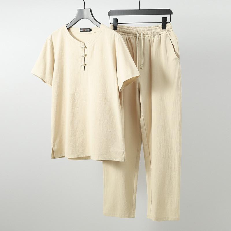 Мужские льняные Топы И Футболки, большие размеры, M 6xl, 7xl, 8xl, 9XL, футболка с круглым вырезом, мужские футболки, костюмы из двух предметов в китайском стиле - 4