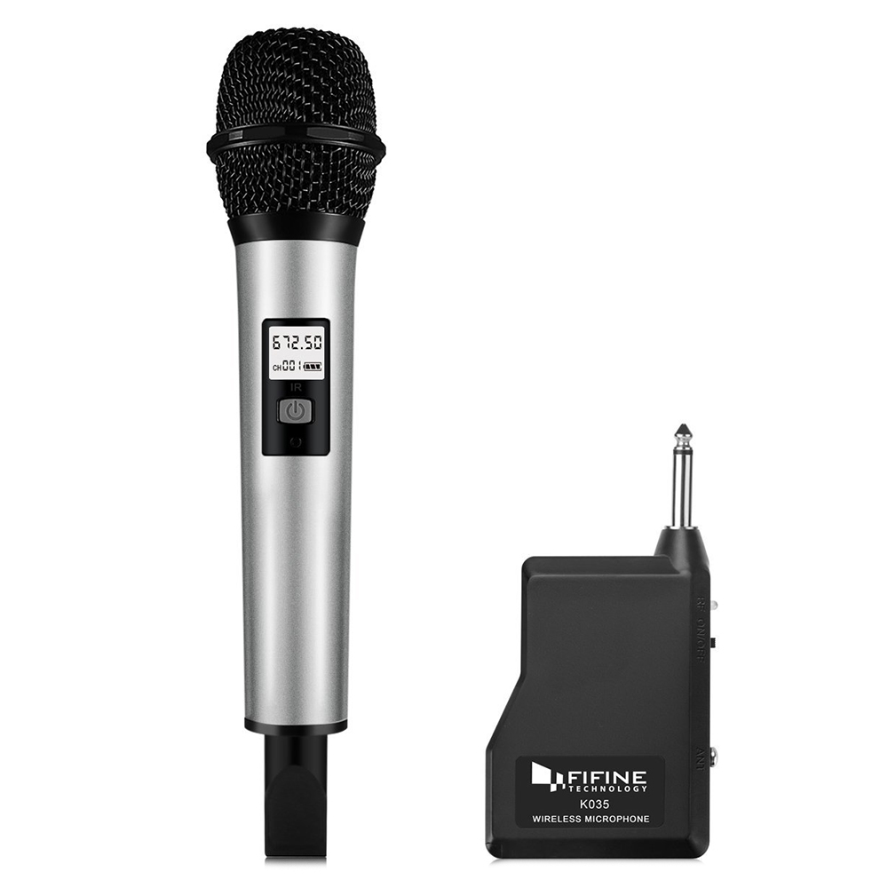 fifine k035 wireless handheld microphone with receiver for pc laptop karaoke audio microphone. Black Bedroom Furniture Sets. Home Design Ideas