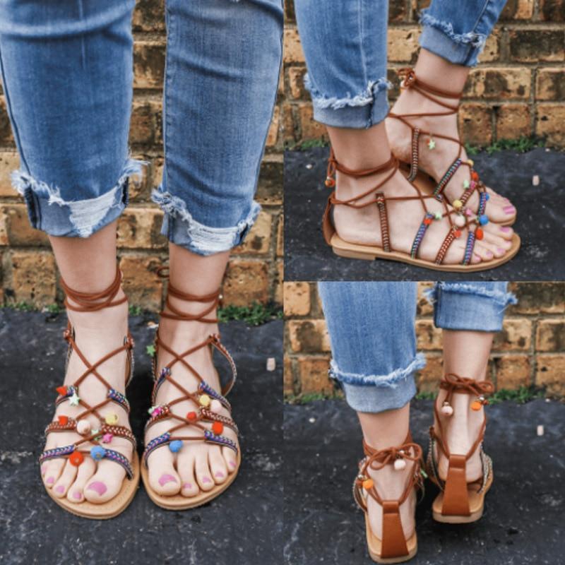 Fashion Flat women Gladiator sandals Ankle Strap big size beach summer shoes Casual Bohemia ladies sandals female 2018 NBT10026 women sandals fashion straw shoes woman summer wedges sandals ankle strap casual ladies flat sandals