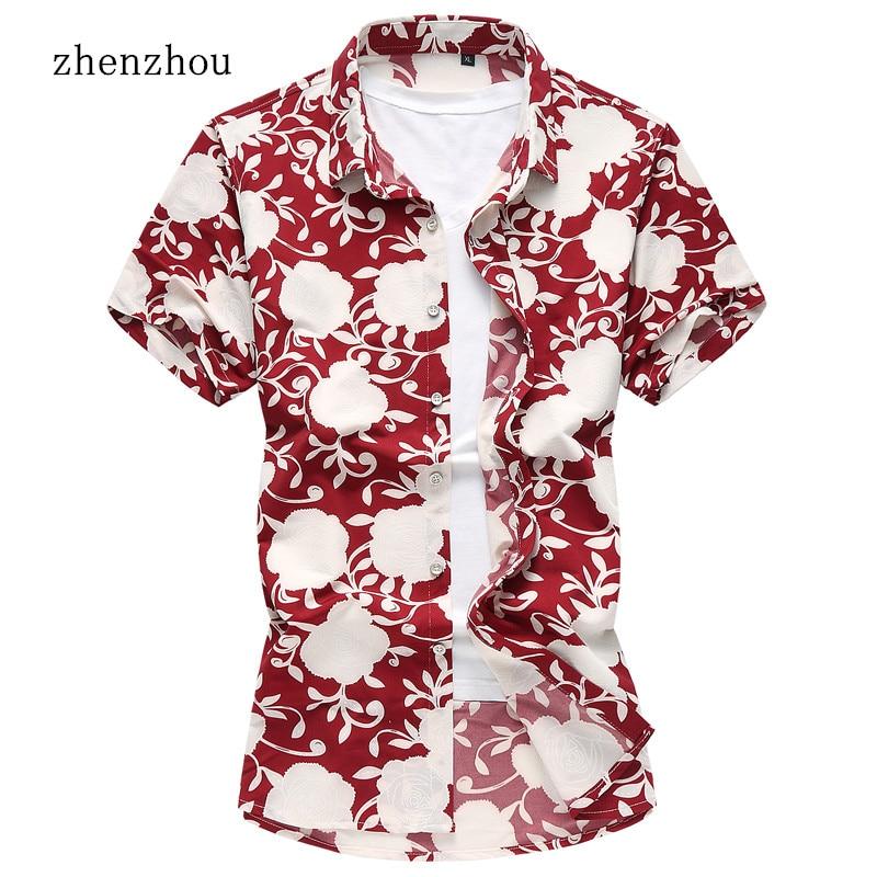 ZhenZhou Summer Short Sleeve Mens Shirts Floral Male Clothes M-6XL 7XL Social Men Casual Shirt Camisa Hawaiana