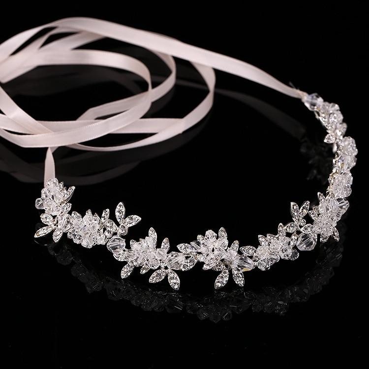 Handmade Bridal Crystal Rhinestone Ribbon Hair Piece Women White Simulated-pearl DIY Pricess wedding tiaras Crown Accessories