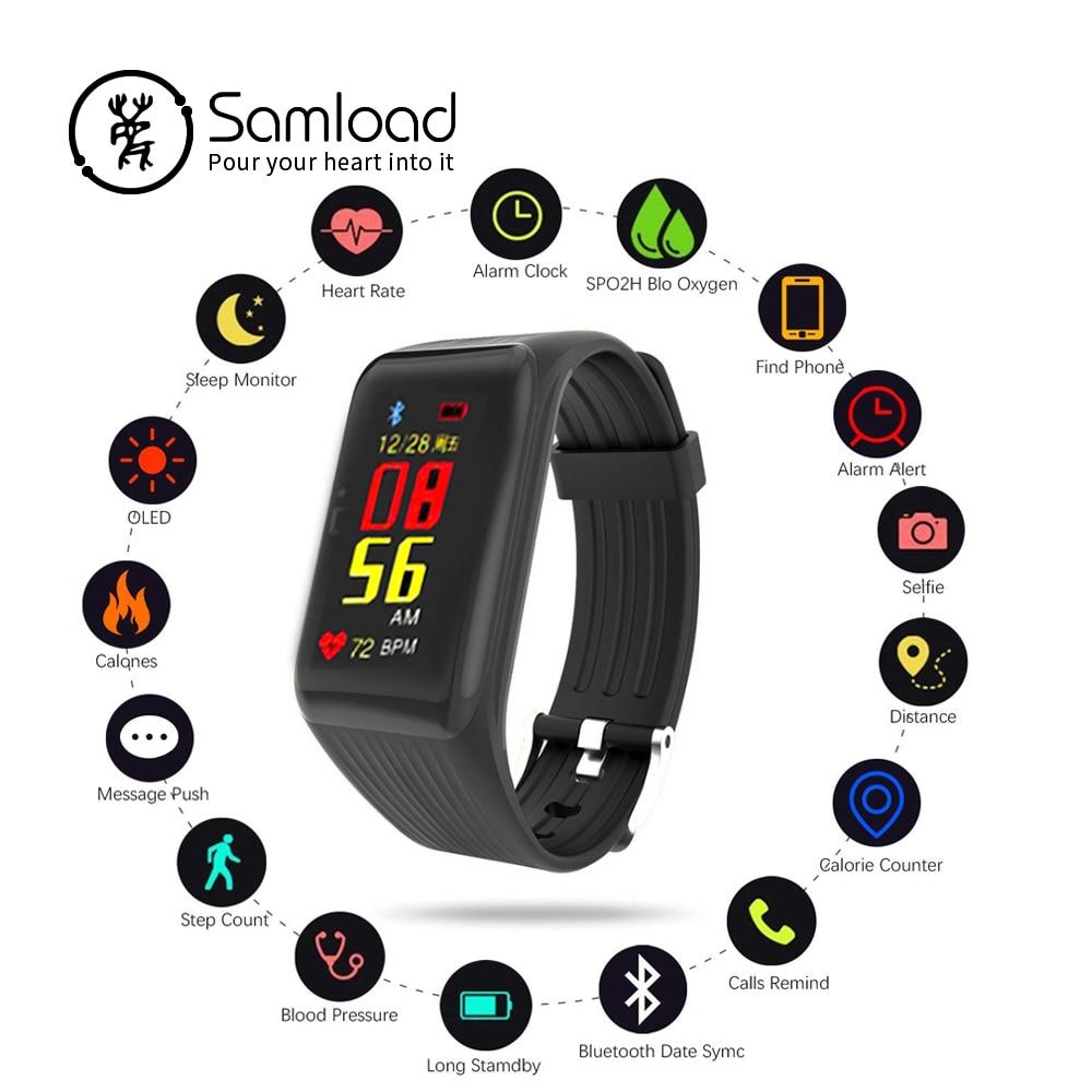 Samload K1 pulsera inteligente impermeable de la pulsera deportes Bluetooth banda de dormir velocidad rastreo antirrobo para Xiaomi iPhone6 7 8 Huawei