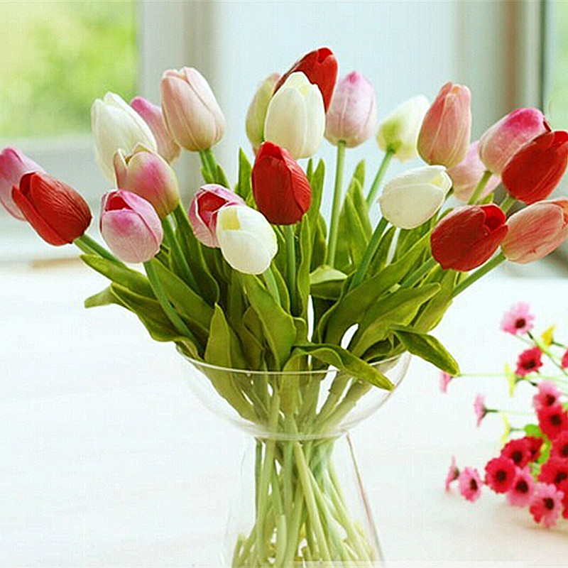 30pcs lot tulip artificial flower 2016 pu artificial for Artificial leaves for decoration
