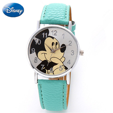 Original Disney Teen Genuine PU Quartz Children FashionWatchs Mickey Mouse Girls Cartoon Student WatchWomen Anime Clock