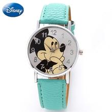 Original Disney Teen Genuine PU Quartz Children FashionWatchs Mickey Mouse Girls Cartoon Student WatchWomen Anime Clock