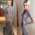 Fascinating Party Gowns Vestido De Festa 2016 Hot Sale See Through Tulle Celebrity Dresses Crystals Evening dress 673