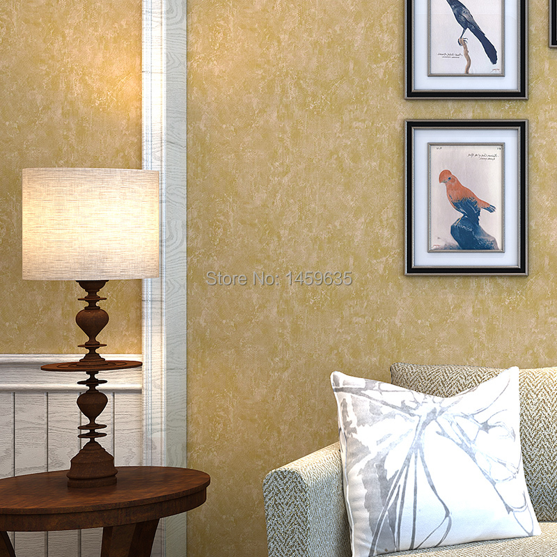 Brief vintage wallpaper plain american style solid color non woven ...