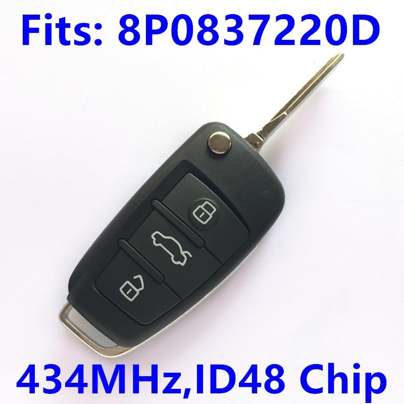 Prix pour 3BT Clé À Distance pour Audi A4 S4 A3 S3 TT Voiture Clé Auto À Distance 8P0837220D/8P0 837 220 D