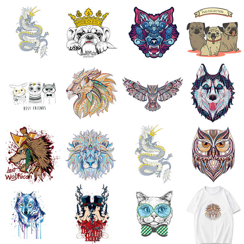 Wolf Lion Tiger Heat Transfer Patches For Stripe Clothes Patch A-level Washable Iron On Applique DIY Clothing Sticker E