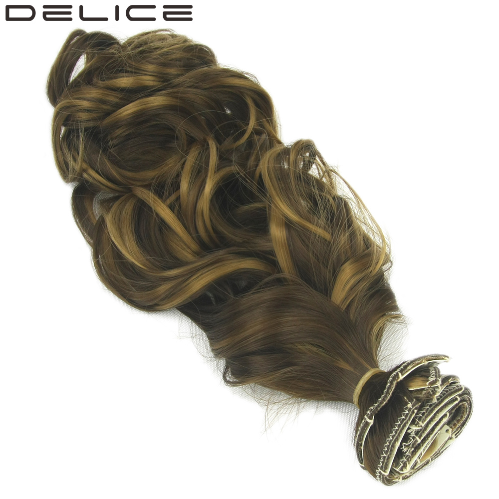 DELICE 7pcs set Clip In Full Head Mixed Brown Blonde Synthetic Long Curly Hair Extensions For