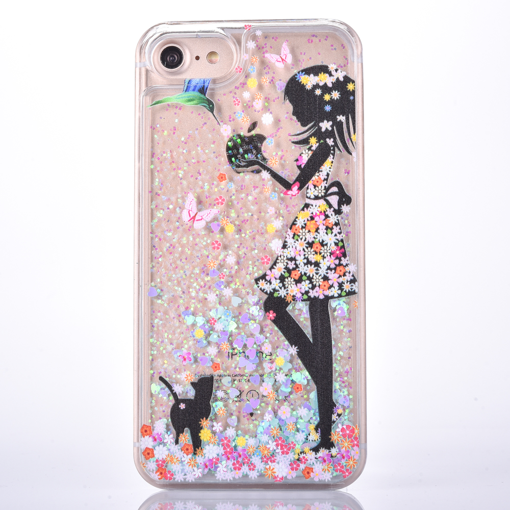 LOVECOM For iPhone 5 5S SE 6 6S Plus 7 7Plus Cases Kind Girl Feed Birds Bling Dynamic Liquid Glitter Love Heart Hard PC Covers