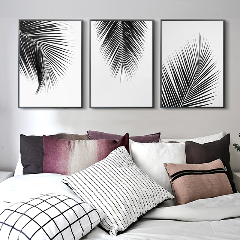 Nordic Style Black White Leaf Canvas Painting For Living Room Decorative Picture Print Wall Art Poster Modern Simple Home Decor