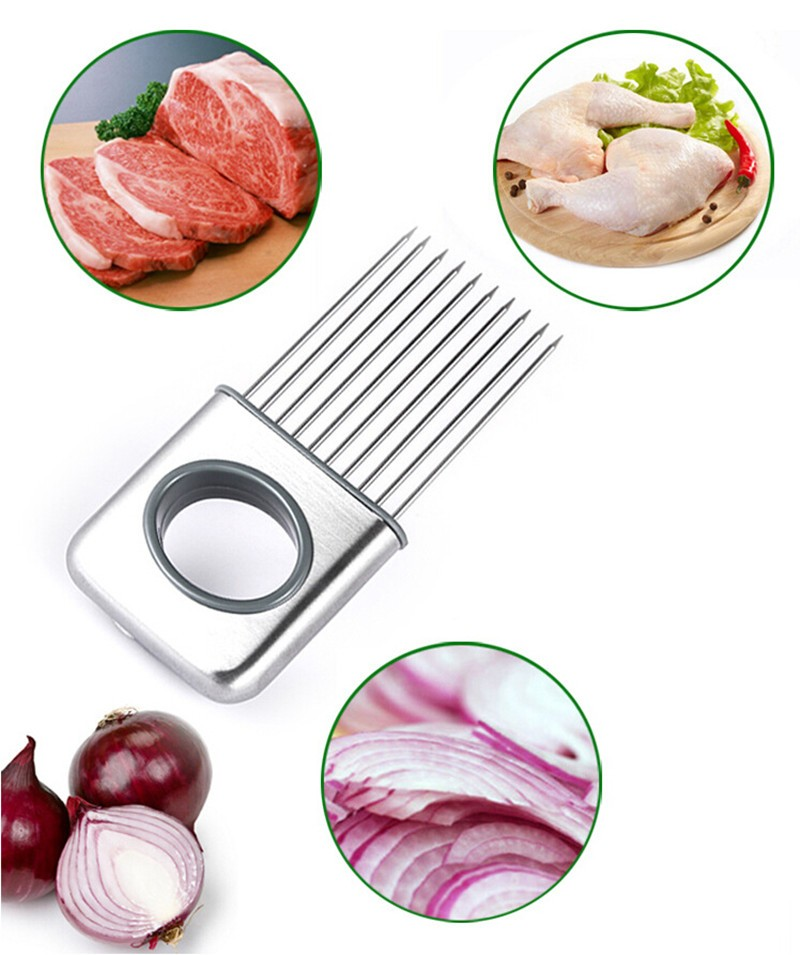 Onion Holder Slicer Vegetable Tools Tomato Cutter Meat Hamstring Fork Stainless