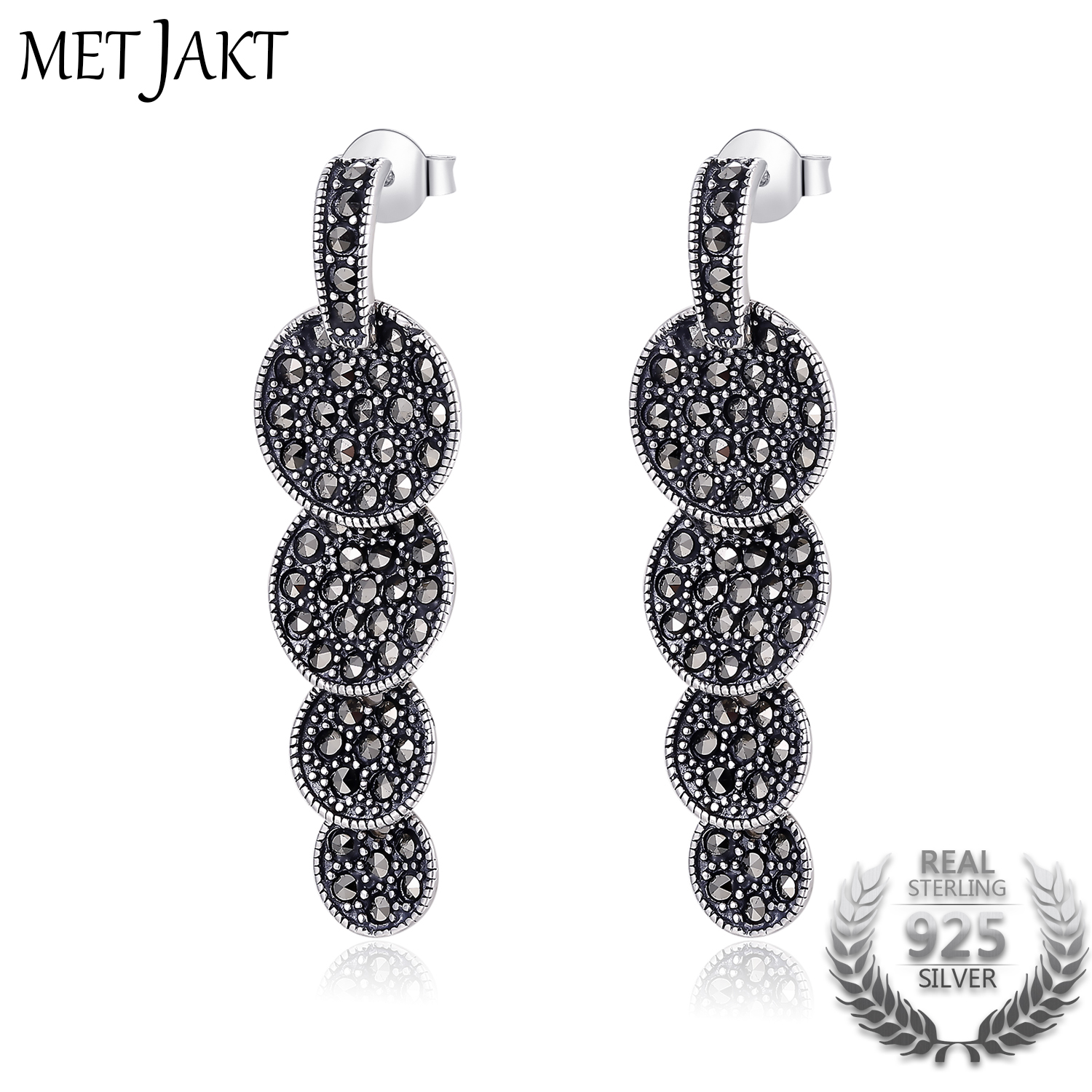 MetJakt 3A Cubic Zirconia&Austrian Crystal Solid 925 Sterling Silver Earrings for Womens Vintage Ethnic Fashion JewelryMetJakt 3A Cubic Zirconia&Austrian Crystal Solid 925 Sterling Silver Earrings for Womens Vintage Ethnic Fashion Jewelry