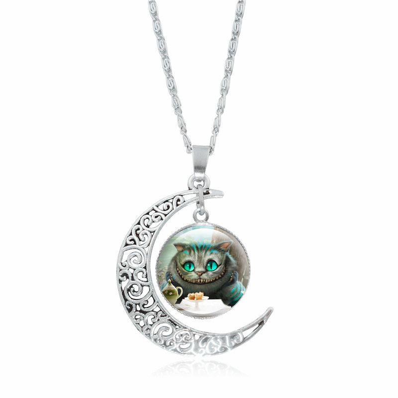 Jewelry & Accessories Lower Price with Alice In Wonderland Cheshire Cat Glass Cabochon Pendant Necklace Silver Hollow Crescent Moon Chain Necklace Women Jewelry