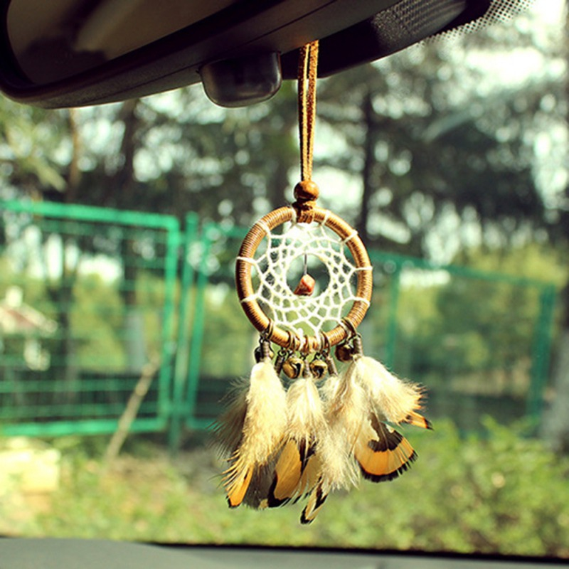 Small Bronze Bells Feather Dreamcatcher & Wind Chimes Car ...