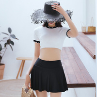Sexy Short skirt with safety pants 2019 new High Neck bikini swimwear high waist two pieces swimsuit Split women bathing suits
