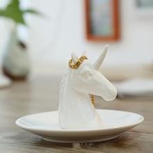 נורדי קרמיקה תכשיטי צלחת עגילי אחסון דיסק בעלי החיים בית ריהוט בית תפאורה חד קרן קרנף בהיר לבן פורצלן