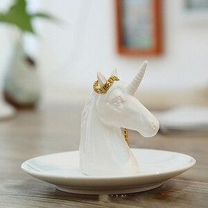 Image 1 - Nordic เซรามิคเครื่องประดับต่างหูแผ่นแผ่นดิสก์สัตว์ตกแต่งบ้าน home decor ยูนิคอร์นแรดสีขาวสดใส