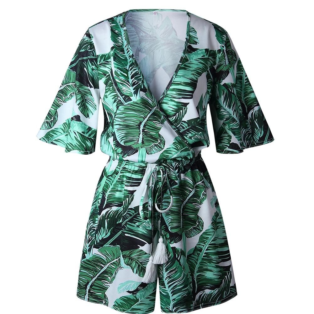 f9b1c217d1 Summer Vacation Women Jumpsuit High Waist Tropical Palm Leaf Print V-neck  Bandage Romper Short