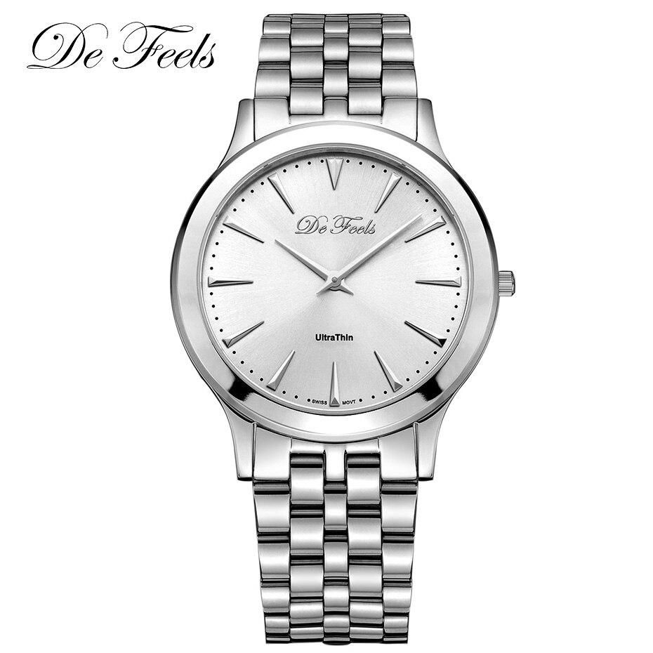 Les hommes Ultra minces De montre Simple des hommes classiques De verre De saphir regardent les montres masculines d'horloge d'acier inoxydable d'affaires De Saat