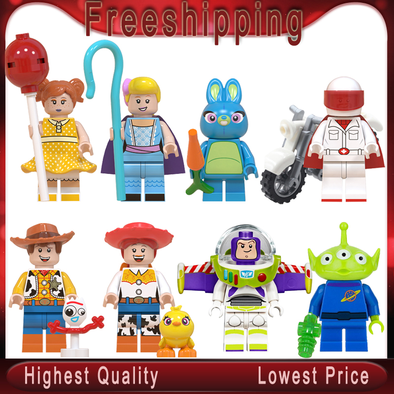 Toy Story4 Movie Characters Buzz Lightyear Alien Bonnie Woody Jessie Ducky Duke Caboom Building Blocks Kid Toy Gifts Wm6060