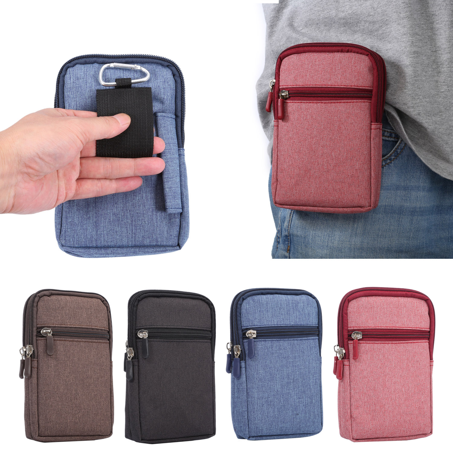 Outdoor 2 Pockets Universal Holster Phone Pouch Bag Wallet Case Belt Clip for Samsung Galaxy S3 S4 S5 mini Note 3 4 5 7 C5 C7