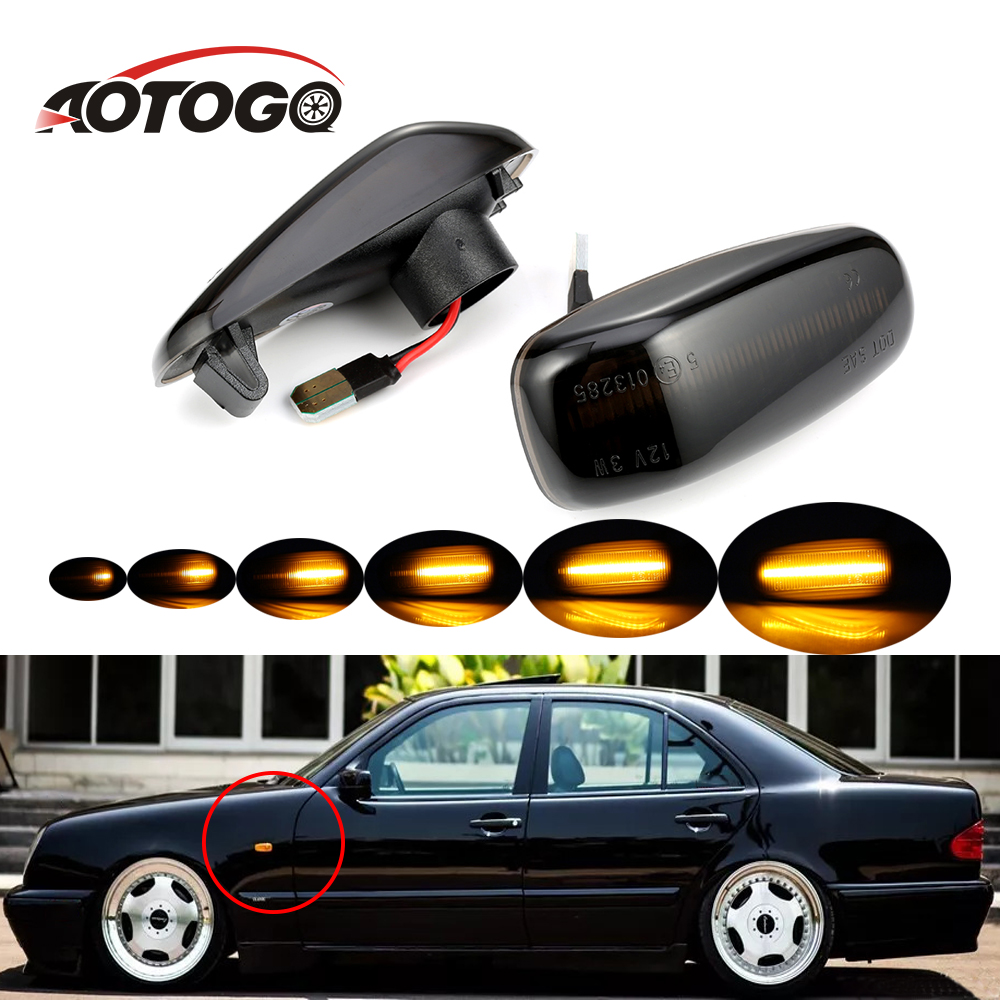 2pcs Led Dynamic Signal Light For <font><b>Mercedes</b></font> <font><b>BENZ</b></font> W210 W202 W208 R170 <font><b>Vito</b></font> <font><b>W638</b></font> Side Marker Turn Signal Light Sequential LED image