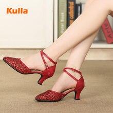 รองเท้าเต้นรำแบบละตินTangoรองเท้าผู้หญิงComfortปิดToeสาวโมเดิร์นบอลรูมเต้นรำรองเท้าสีแดง/สีดำ/ทองนุ่มกลางแจ้งรองเท้า