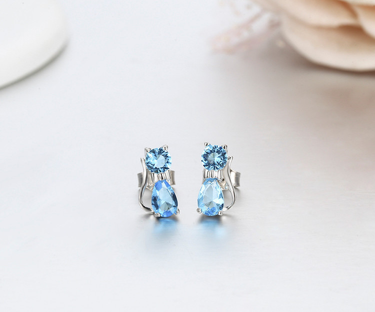 Blue Crystal Sterling Silver Cat Earrings