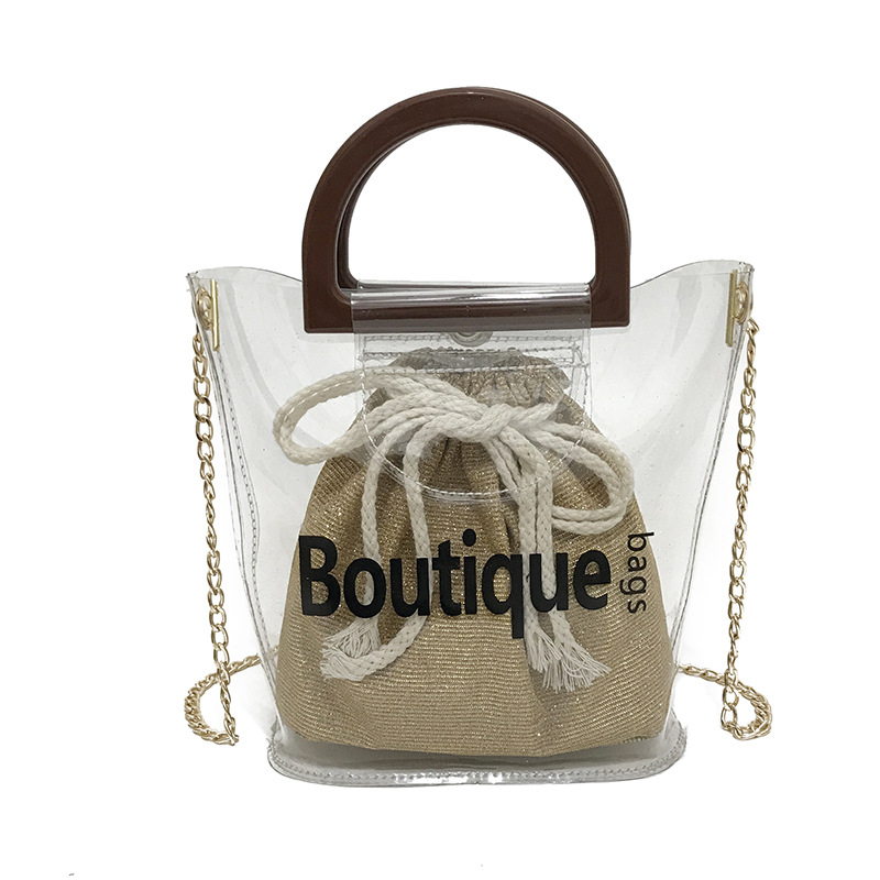 Wood Handle Mini Bucket Bag Composite Bags Transparent PVC Jelly Shoulder Bag Chain Crossbody Summer Clear Beach Bags