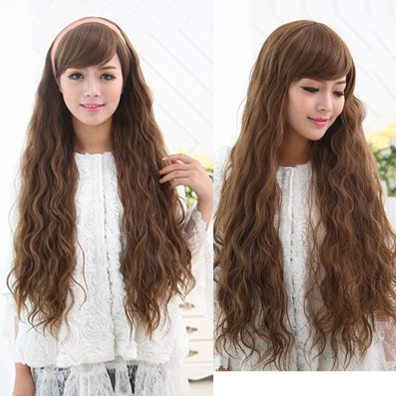 65cm Fashion Light Brown synthetic wigs Long Kinky Curly Rhapsody Wavy Hair Anime Cosplay Wigs for Black women