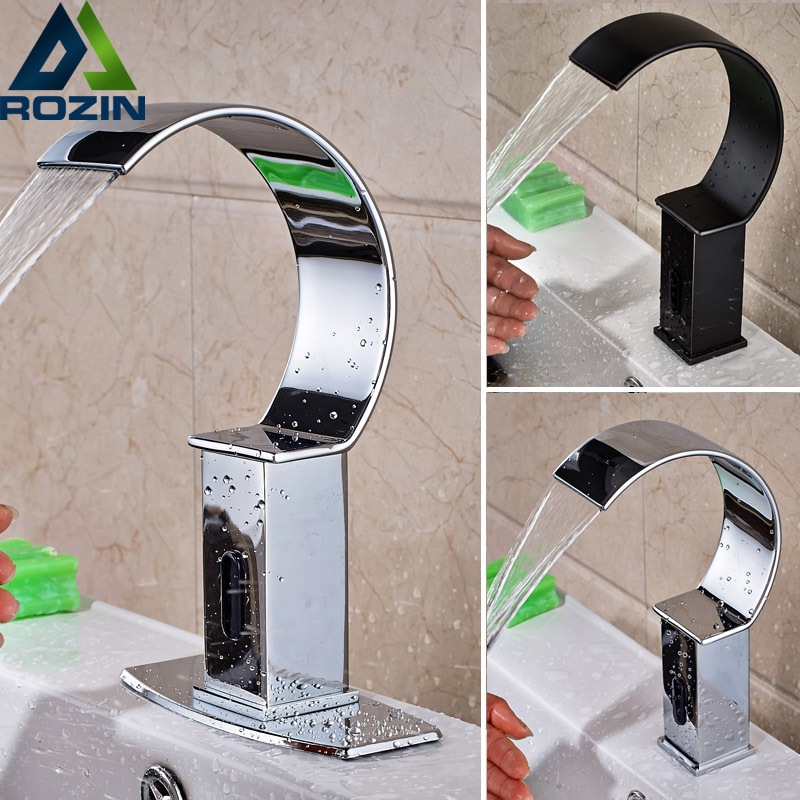 Chrome Bronze Bathroom Sense Faucet Hands Free Automatic Basin Sink Waterfall Water Taps Deck Mounted fapully bathroom waterfall basin faucet deck mounted automatic hands touch sensor water faucet waterfall sink tap