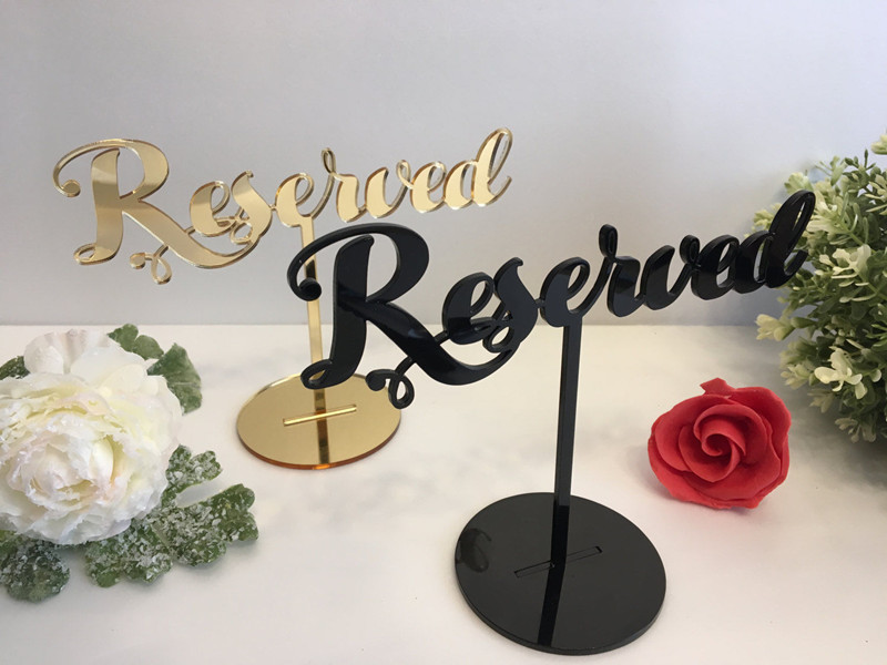 black gold acrylic Table Seating Signs Reserved sign Reception for Christening Baptism Birthday Party Decor