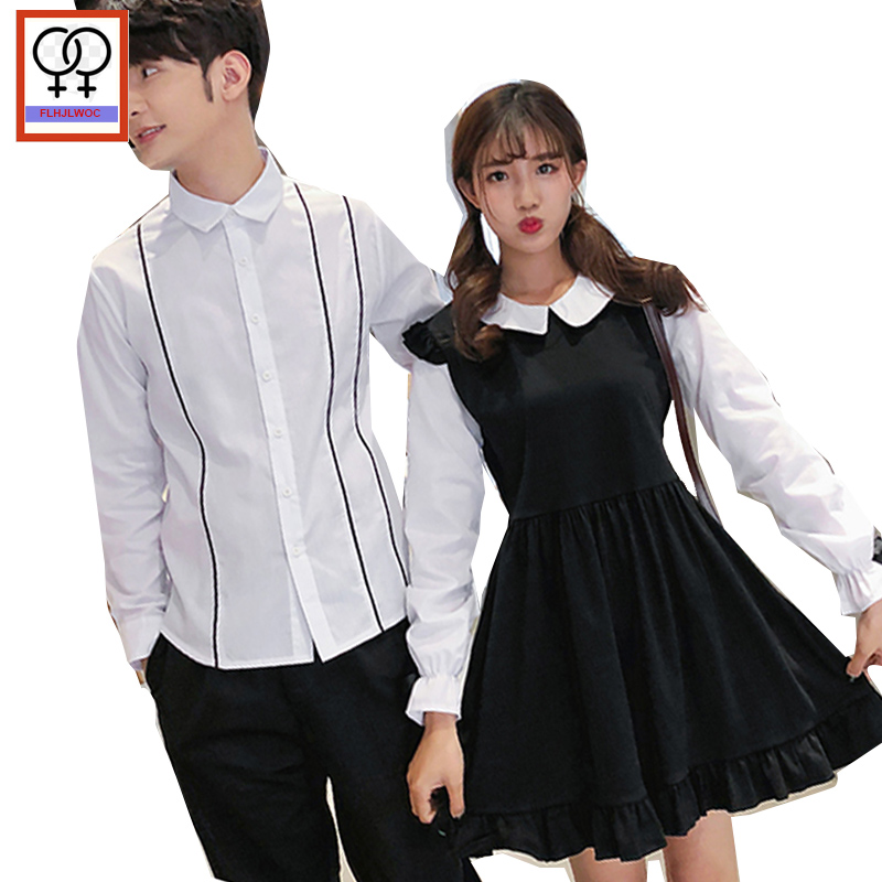 a44ffaf17d 2019 Matching Couple Clothes Lovers Valentine s Day Gift Boyfriend  Girlfriend Peter Pan Collar White Faux Two