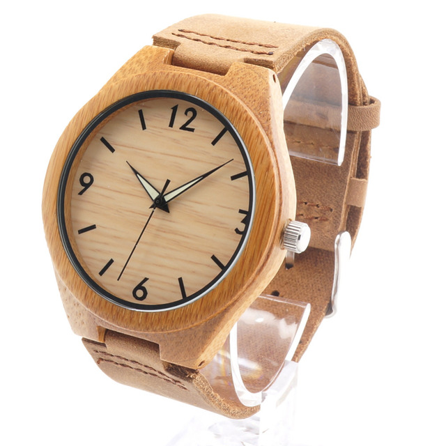 BOBO BIRD RT0431 Mens Brand Luxury Wooden Bamboo Watches With Real Leather Quartz Watch in Gift Box