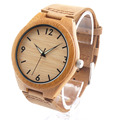 Bobo bird rt0431 mens relojes de marca de lujo de bambú de madera con reloj de cuarzo de cuero real en caja de regalo