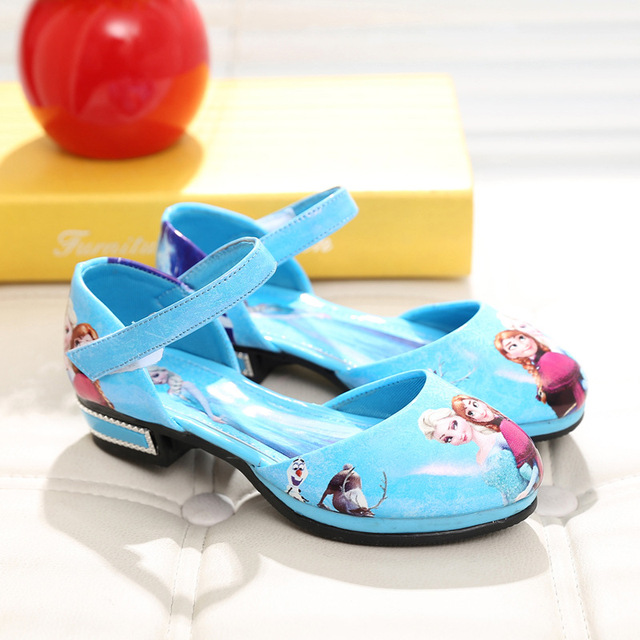 Children Elsa shoes girls blue boat shoes kids Anna princess shoes girls leather Sneakers Cartoon Baby sandals zapatos sapato