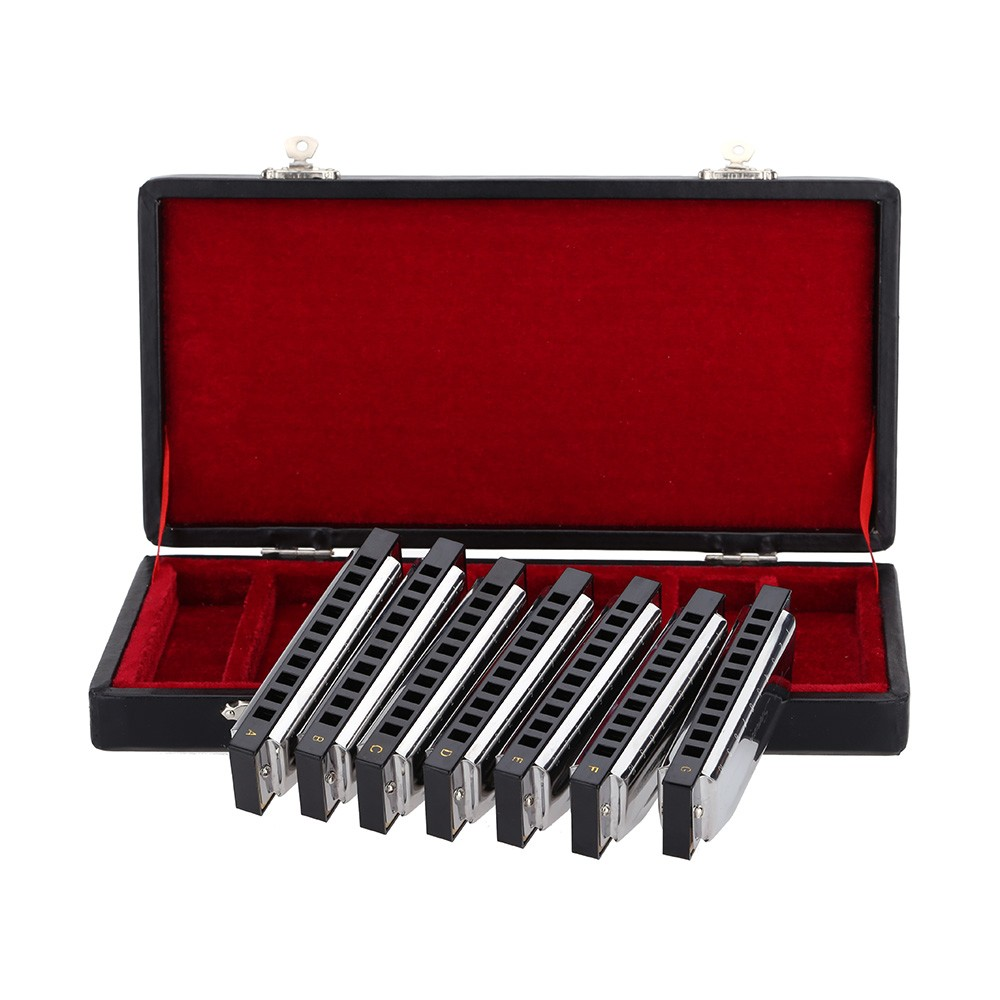 Swan 10 Holes Harmonica Harp Blues Set 7 Piece (A-G) With Carry Box pozis fv 108 silver