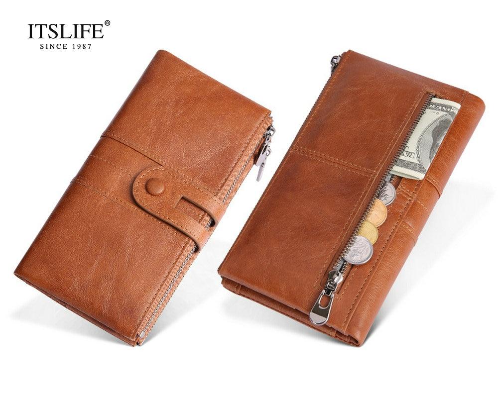 где купить New women's RFID blocking long wallet genuine leather button zipper purse bifold cowhide lady wallet vintage style coin purse по лучшей цене