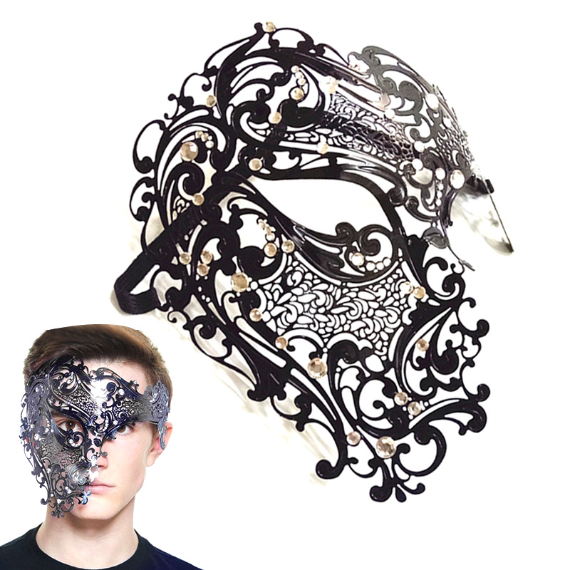 Sexy Women Men Hollow Cut Eye Face Mask Masquerade Skull Filigree for Party Halloween-MX8