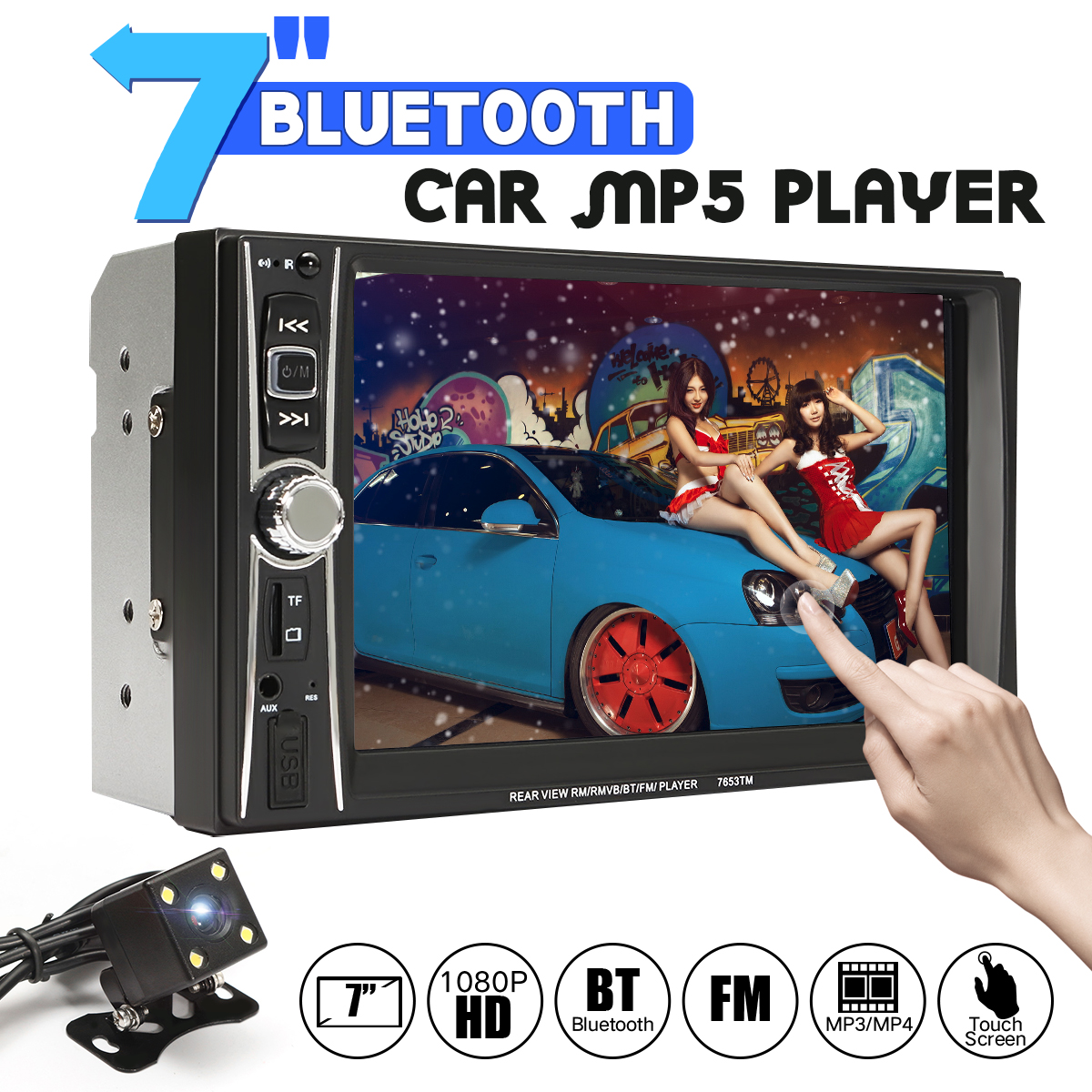 HD 1080P 7 Inch Bluetooth Car Radio 2 Din In Dash Touchscreen Auto Audio Player MP5 Player Rear View Camera Remote Control new 7 inch 2din bluetooth car radio video mp5 player auto radio fm 18 channel hd 1080p in dash remote control rear view camera