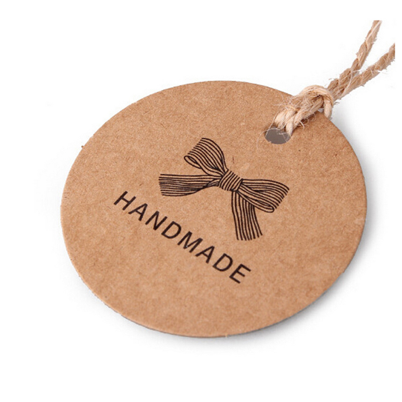 New 100pcs Handmade Round Kraft Packing Gift Tag Bow Style Kraft Paper Hang Tags Gift Packing Label Cards Garment Tag