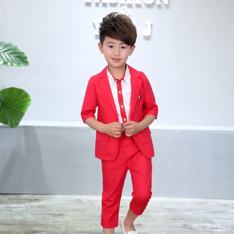 8baad73fff6d1 School Kids Birthday Dress Boys Formal Suits Gentleman Blazer Vest Pant  Clothing Set Children Wedding Tuxedo Graduation