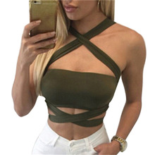 Tube Top Women Sexy Bustier Bralette Strappy Corset Cut Out Tank Blouse Halter cropped off shoulder bandage crop top W1