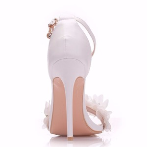 Image 2 - Crystal Queen Sweet white Flower Sexy Dress Wedding Shoes Women Lacing Ankle Strap Peep Toe High Heels Sandals Floral Shoes