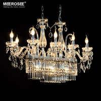 Hermosa lámpara de araña de cristal rectangular luminaria 13 luces de araña de cristal iluminación Lustre colgante de comedor