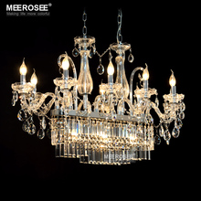 hot deal buy gorgeous rectangle crystal chandelier light fixture 12 lights glass chandelier lighting lustre hanging dining room drop lamp